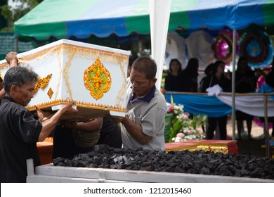 NAKHONRATCHASIMA,THAILAND AUGUST 4 ,2018 : Funeral ceremony in Thailand, People come together to mourning for the deceased. Funerals in Orthodox traditions. Buddhism in Thailand.