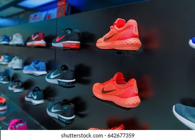 Nakhonratchasima,Thailand - MAY 16, 2017: Exposition of nike sport shoes. Nike is one of the world's largest suppliers of athletic shoes and apparel. The company was founded on January 25, 1964.