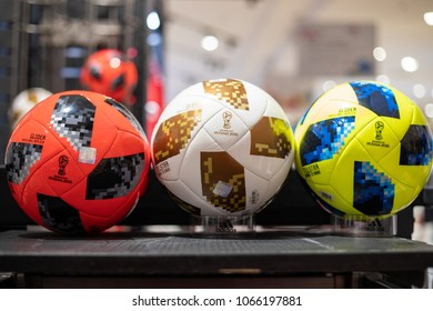 Nakhonratchasrima,Thailand, April 11, 2018: Adidas Telstar Top Glider World Cup 2018 Football, The Official Match soccer ball for the 2018 Russia World Cup  for sale in a store in Thailand