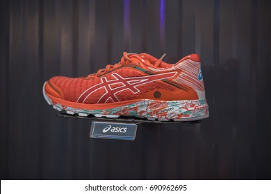 Nakhonratchasrima,Thailand, August 06, 2017: Asics shoes sports running at Asics stores are located all over the world