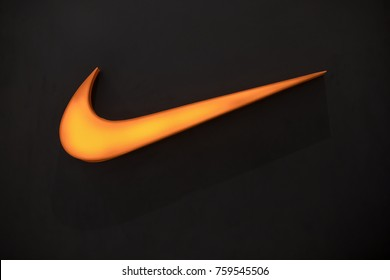 Nakhonratchasrima,Thailand, NOV 16, 2017: Nike logo. Nike is a global sports clothes and running at Nike stores are located all over the world