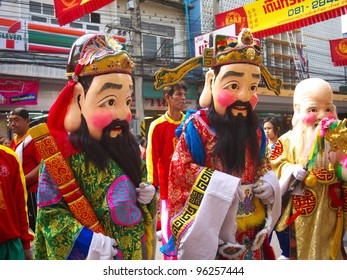 NAKHONSAWAN, NORTHERN/ THAILAND-JANUARY 26: Three Gods of Hok-Lok-Siew in Chinese New Year Celebrations on January 26, 2012 in Nakhonsawan. They represent luck fortune, wealthy and position.