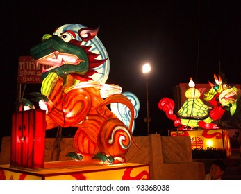 NAKHONSAWAN,NORTHERN/ THAILAND- JANUARY 19: Lion and turtle model lantern in Chinese New Year Festival on January 19, 2012 in Nakhonsawan.