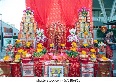 NAKHONSAWAN/THAILAND - JANUARY 31, 2017: God altar table on the street of Procession of Chinese New Year Festival at 101 anniversary year in the Nakhonsawan city , Middle of Thailand.