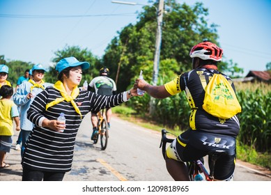 Nakhonsawan,Thailand – September 22-23 2018: Group of cyclists Participated in the activity Promote OTOP travel campaign