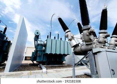 NAKHONSAWN-THAILAND -NOVEMBER 11 : Outdoor high voltage switchgear in electrical substation  to generate electricity on November 11, 2013 in Nakhonsawan province, Thailand