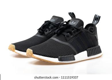 Nakhonsrithammarat, Thailand - June 10 2018: adidas NMD R1 black shoes.