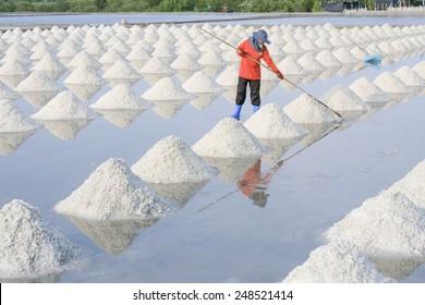 Naklua Mass of salt in salt seaside farm, Petchaburi Asia Thailand