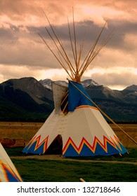 Nakoda Tepee on Great Plains east of  the Canadian Rockies, west of Calgary. This area was subject to Treaty 7 signed in 1877, one of 11 such major treaties signed in Canada between 1871 and 1921.