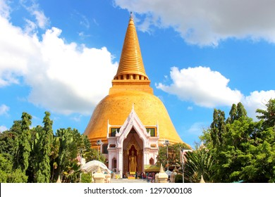 Nakonpratom Province, Thailand - July 1, 2018: Beautiful landscape in Phra Prathom Jedi (Golden Pagoda) with the clear blue sky. The largest pagoda in Thailand.