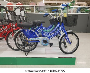 Nakorn Si Thammarat, Thailand. October 10 ,2020: Photo of bicycles at display booth in mall
