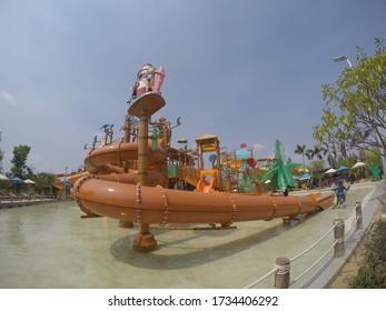 NAKORN-NAYOK, THAILAND - SEP 25, 2018: Fantastic new water park in nakorn nayok.  Thailand