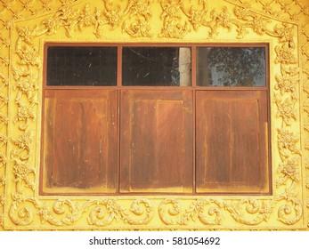 NaKornPaThom, Thailand - Febuary 5 2017 : Temple or Sanctuary Window at Wat Rai Tang Thong, NaKornPaThom