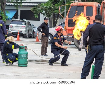 Nakornpathom, Thailand - june 29, 2017 : People are practicing in fire fighting training