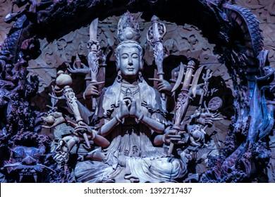 Nakornpathom/Thailand - 02/02/2017: Sculpture of Thousand Arms Guanyin, the Goddess of Mercy at Woodland Maungmai