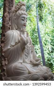 Nakornpathom/Thailand - 02/02/2017: Sculture of Guanyin, the Goddess of Mercy