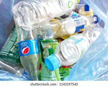 NAKORNPATHOM,THAILAND  - 27 JULY : 2018 ;The recyclable waste in plastic bag