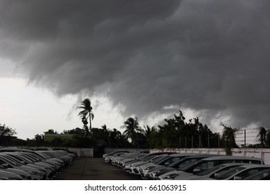NAKORNPATHOM,THAILAND-10 JUNE;2017: Rain storm with strong wind is forming car park