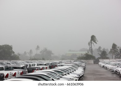 NAKORNPATHOM,THAILAND-12 MAY;2017: Rain storm with strong wind impact car park for an hour