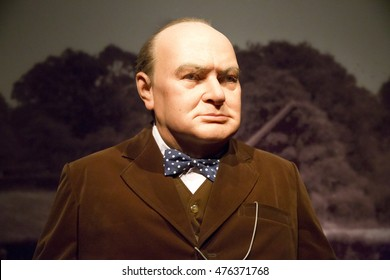 NAKORNPRATHOM,THAILAND - AUGUST 12 : Wax Figures of Sir Winston Churchill The Greatest living Englishman at Thai Human Imagery Museum in Nakhonpathom Province,Thailand on August 12,2016.