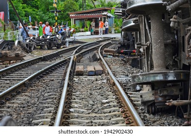 Nakornratchasima, Thailand, July 11, 2017 : People and hard damage of derailed train in the northest of THailand