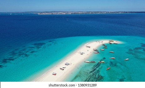 Nakupenda sandbank, Zanzibar /  Tanzania - April 17th 2019: Nakupenda sandbank is located just off Stone town Zanzibar. It is a popular for  tourist and locals who want to relax on white sand beach.