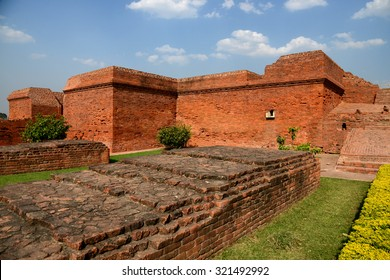 Nalanda old Buddhist University in history ruins brick at Patna city now day is travel place to visit in India