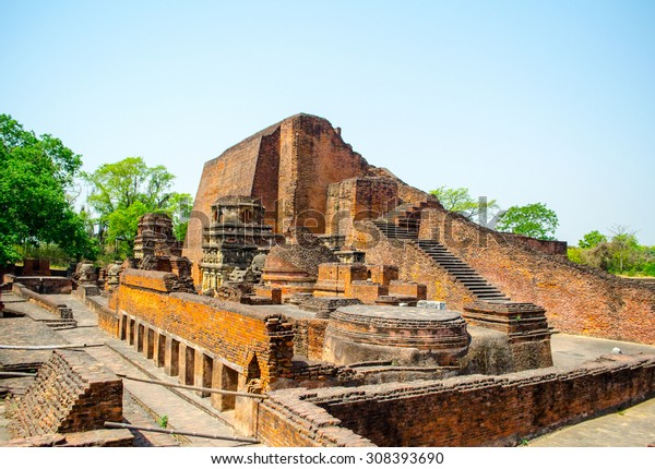 Nalanda University Ruins ,the first Buddhism University with blue clear sky in Bihar  state in India.