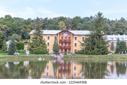 "NALECZOW, POLAND. SEPTEMBER 2018: Historic building of Sanatorium ""Prince Jozef"" in Spa Park"