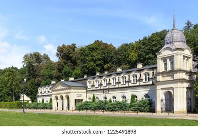 NALECZOW, POLAND. SEPTEMBER 2018: Sanatorium Old Baths (polish: Stare Lazienki) in Spa Park