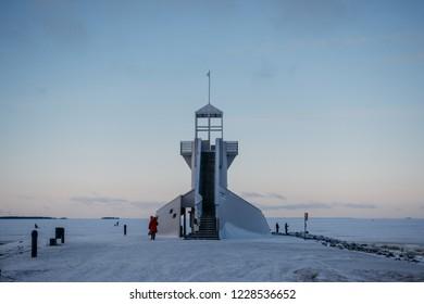 Nallikari Lighthouse in winter. Oulu, Finland