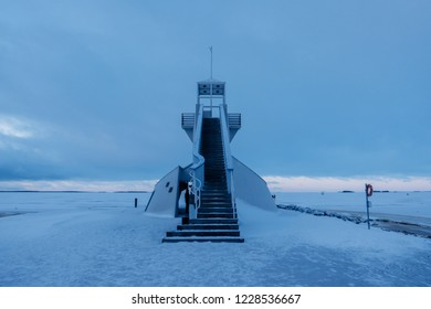Nallikari Lighthouse in winter. Oulu, Finland