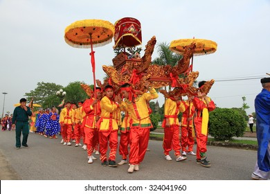 Nam Dinh, VIETNAM - October 2, 2015: The folklore activities of Tran temple festival-there are more than 700 years to commemorate the national hero Tran Hung Dao.