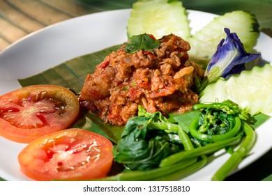 Nam Prik Aong or Thai Northern Style Pork and Tomato Chili Relish