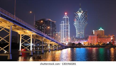 Nam Van Lake Macau- 22 January 2019: Macau city at night