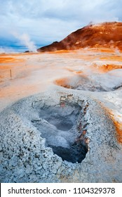Namafjall - geothermal area in field of Hverir. Landscape which pools of boiling mud and hot springs. Tourism and natural attractions in Iceland