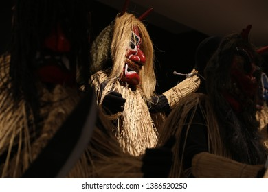 Namahage is the name given to ogres in the Akita area. During a winter festival, they visit each household to threaten children into listening to their parents.