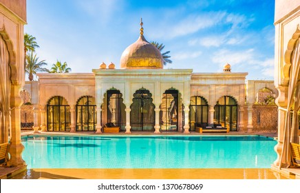 Namaskar palace, Marrakech, Morocco - November 15, 2017:  Namaskar palace, luxury hotel and spa of Marrakech, Morocco