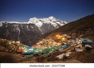 Namche Bazaar aerial view, Everest trek, Himalaya, Nepal