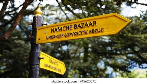 Namche Bazaar Sign Direction