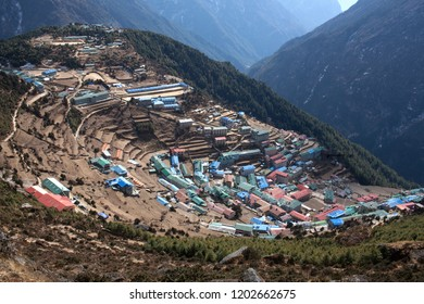 Namche Bazaar view from above in Sagarmatha National park, Nepal. Namche Bazaar is a Capital of Sherpas in Solukhumbu District of North-Eastern Nepal