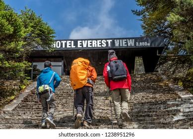 Namche Bazaar,Nepal - October 1 2018 : trekker walking to the hotel everest view in everest trek region in Nepal.