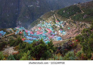 Namche Bazar - the capital of the Sherpas on a sunny day - Everest region, Nepal, Himalayas