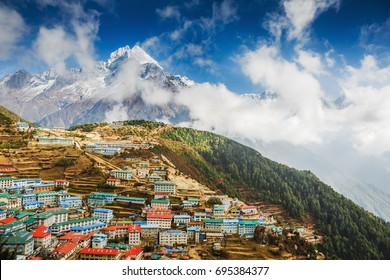 Namche bazar and mount Thamserku, Everest base camp trek, Khumbu valley, Sagarmatha national park, Nepal