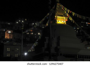 Namche Bazar / Nepal - 10 09 2018 - Namche Bazar and it's buddhist monument at night