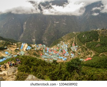 Namche Bazar / Nepal - 10 10 2018: View of Namche Bazar from the top