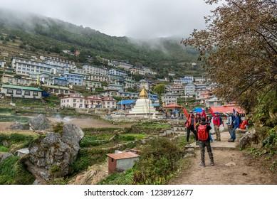 Namche Bazar - September 30 2018 : Trekker walk on way to Mt.everest base camp in Namche Bazar ,Nepal
