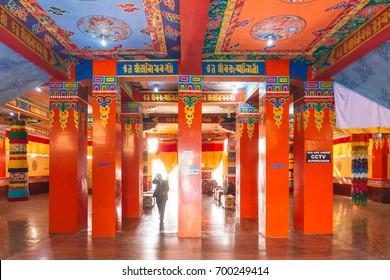 NAMCHI, INDIA. DECEMBER 31, 2015: Inside Guru Rinpoche Temple with colorful interior decoration in Guru Rinpoche Temple at Namchi. Sikkim, India.