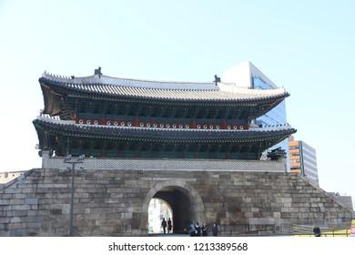 Namdaemun (Sungnyemun) Gate in Seoul, South Korea Writing on the building: Gate of Exalted Ceremonies