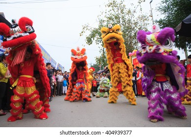 "NAMDINH, VIETNAM - APRIL 12, 2016: Vietnam dancer colorful lion in temple of ""PHU DAY"" tradition festival, Namdinh, Vietnam."